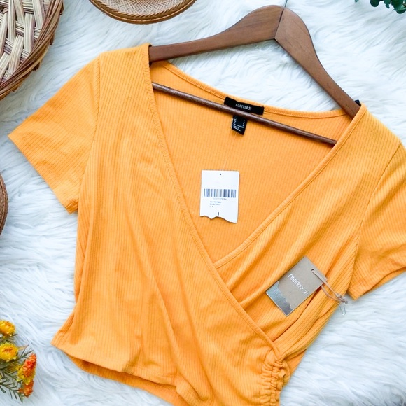 NWT FOREVER 21 Sunset Gold Yellow Wrap Crop Large